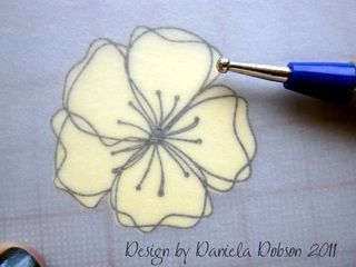 Embossed flower step 4 077444