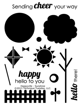 Technique-Tuesday-Happyville-Sunshine-Clear-Stamps-Medium
