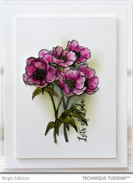 Handmade card by Birgit Edblom for Technique Tuesday // TechniqueTuesday.com
