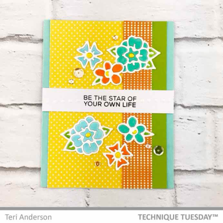 A handmade stamped card by Teri for Technique Tuesday // TechniqueTuesday.com