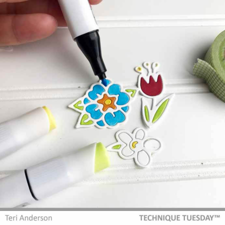 How to Add Color with Markers to Die-cuts Tutorial || TechniqueTuesday.com