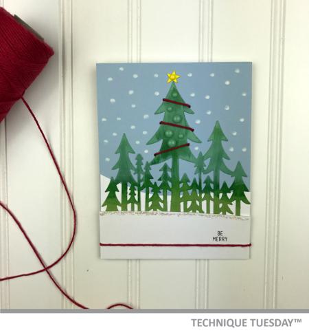 A handmade Christmas card created from Technique Tuesday // TechniqueTuesday.com