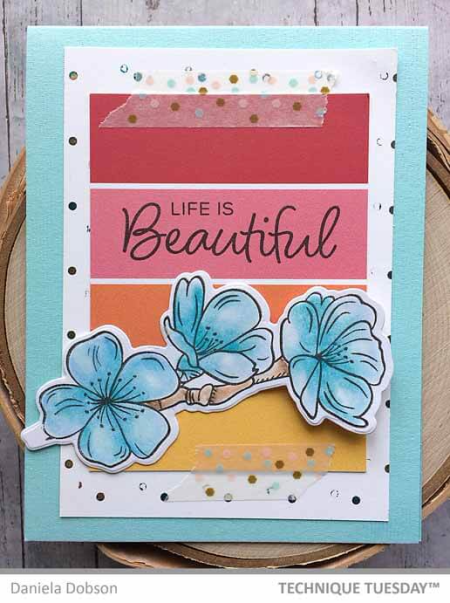 A stamped card by Daniela Dobson for Technique Tuesday || TechniqueTuesday.com