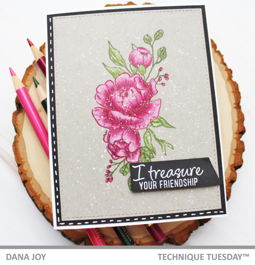 Technique Tuesdays Fresh Peonies stamp with color pencils