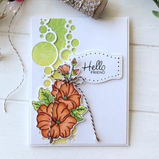 Hello Friend Hollyhocks and Bubbles Card - Allison A