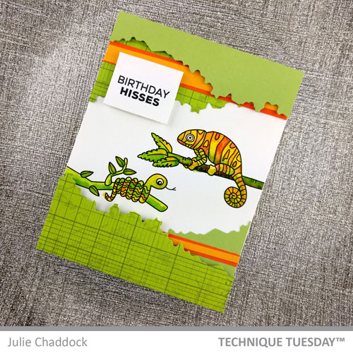 Chameleon-Friends-Birthday-Hisses-Stars-Card-Julie-C-Technique-Tuesday-1