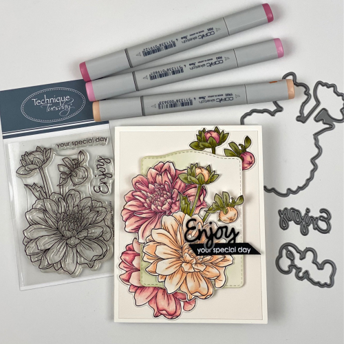 This is an example of birthday cards for friends handmade decorated with three Dahlias and featureing sentiments reading Enjoy your special day.