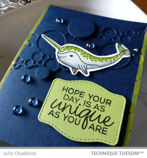 This example of homemade father's day card ideas from daughter is decorated with a smiling stamped Narwhal. Among the handmade fathers day cards from daughter this card highlights a unique man with the sentiment stamp reading Hope your day is as Unique as you are