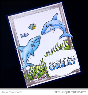 This shark card is an example of masculine cards handmade by our design team. Two sharks and two fish swim in the foreground of the diy fathers day cards, and the sentiment reads You are totally great