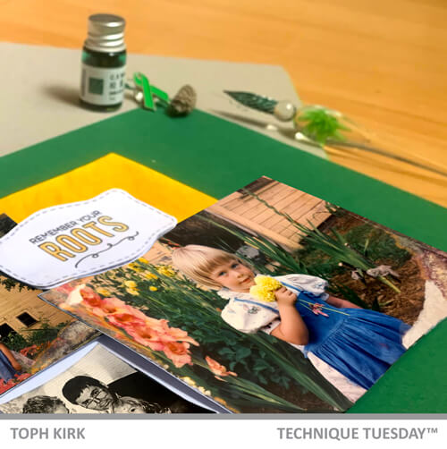 Spring Scrapbook layouts from above here shown in a close up emphasizing the sentiment stamp Remember your roots