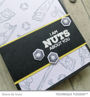 This example of diy cards for men is a father's day toolbox card featuring bolts and the sentiment I am nuts about you above a background of stamped saws, levels, and bolts
