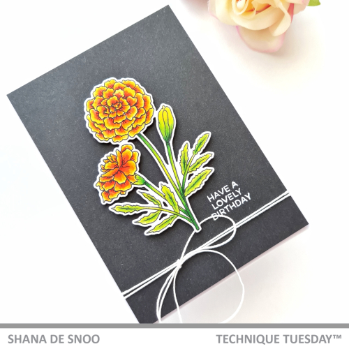 Shana's visually simple flower card features a stamped and die cut marigold framed by black card stock. The white sentiment reads Have a lovely birthday, and the marigold flower birthday card is tied off with white string.