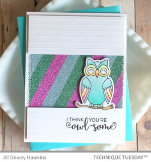 This example of Homemade Fathers day card ideas features an owl in front of a striped sparkly backdrop. The sentiment on the homemade fathers day cards reads I think you're owl-some