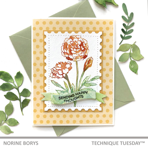 Norine's diy marigold flower card is a stamped marigold on white card stock shaped like a postage stamp backed with an orange polka dotted paper. This handmade marigold card features the sentiment that reads: Sending happy thoughts.