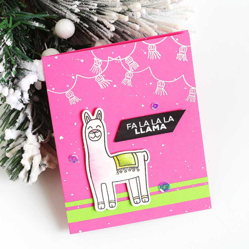 The first of the cute diy Christmas Cards shows a Llama on a bright pink background and sentiments reading Fa La La Llama.